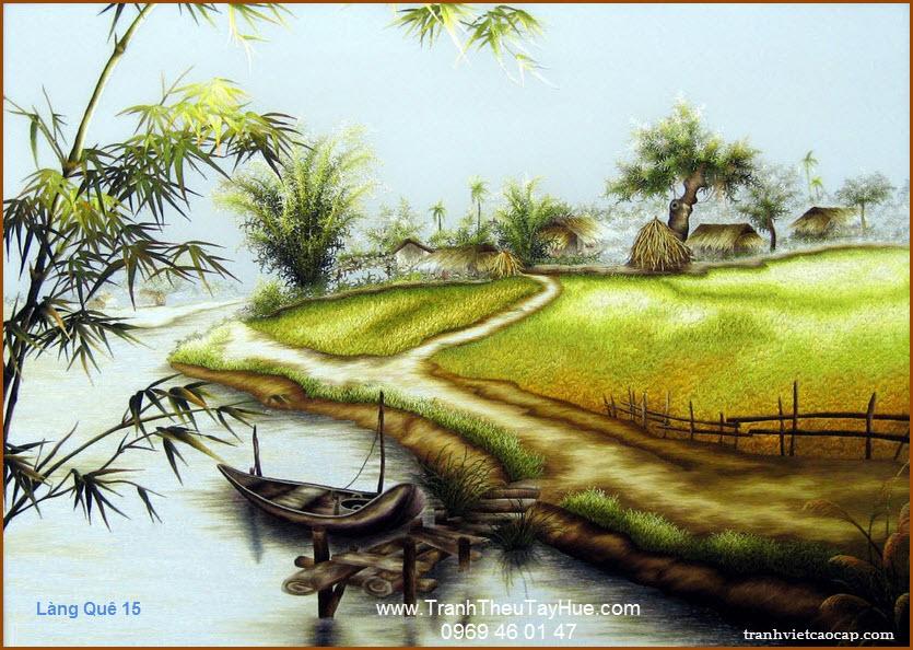 Tranh thêu phong cảnh làng quê Việt Nam 15