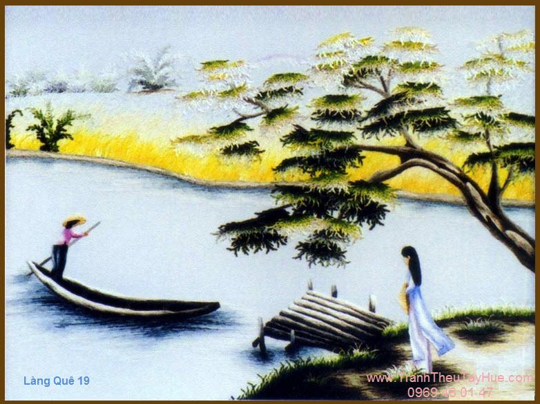Tranh thêu phong cảnh làng quê Việt Nam 19