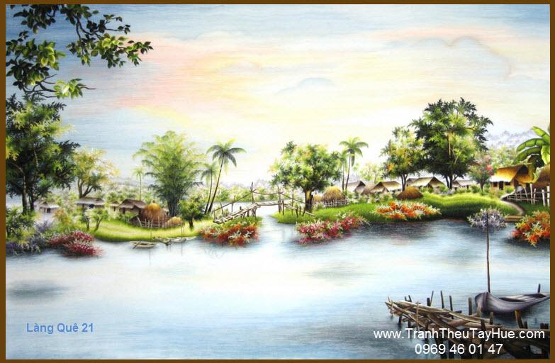 Tranh thêu phong cảnh làng quê Việt Nam 21