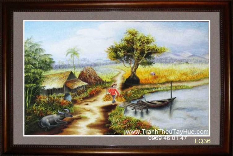 Tranh thêu phong cảnh làng quê Việt Nam 36